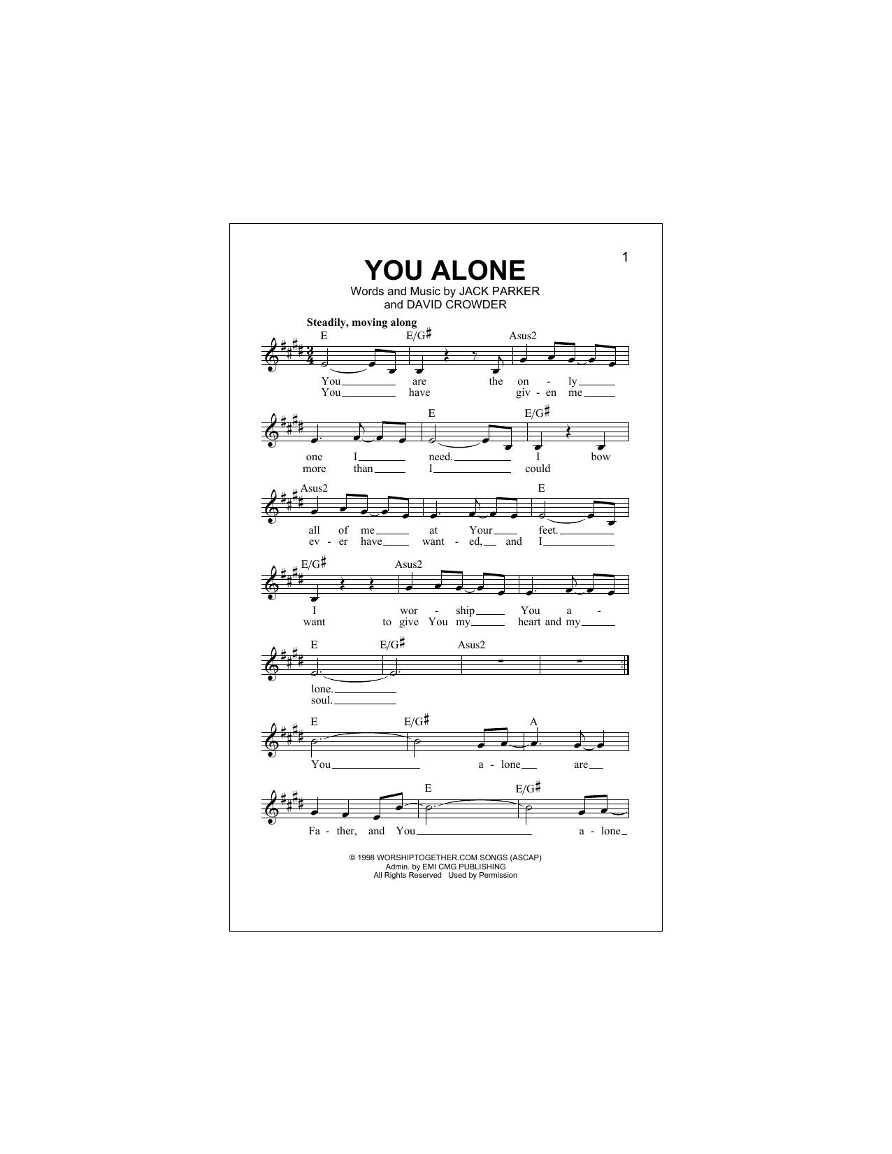 You Alone Chords By David Crowderband Melody Line Lyrics Chords