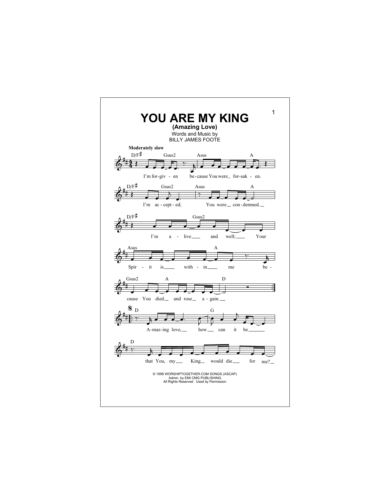 You Are My King (Amazing Love) (Lead Sheet / Fake Book)