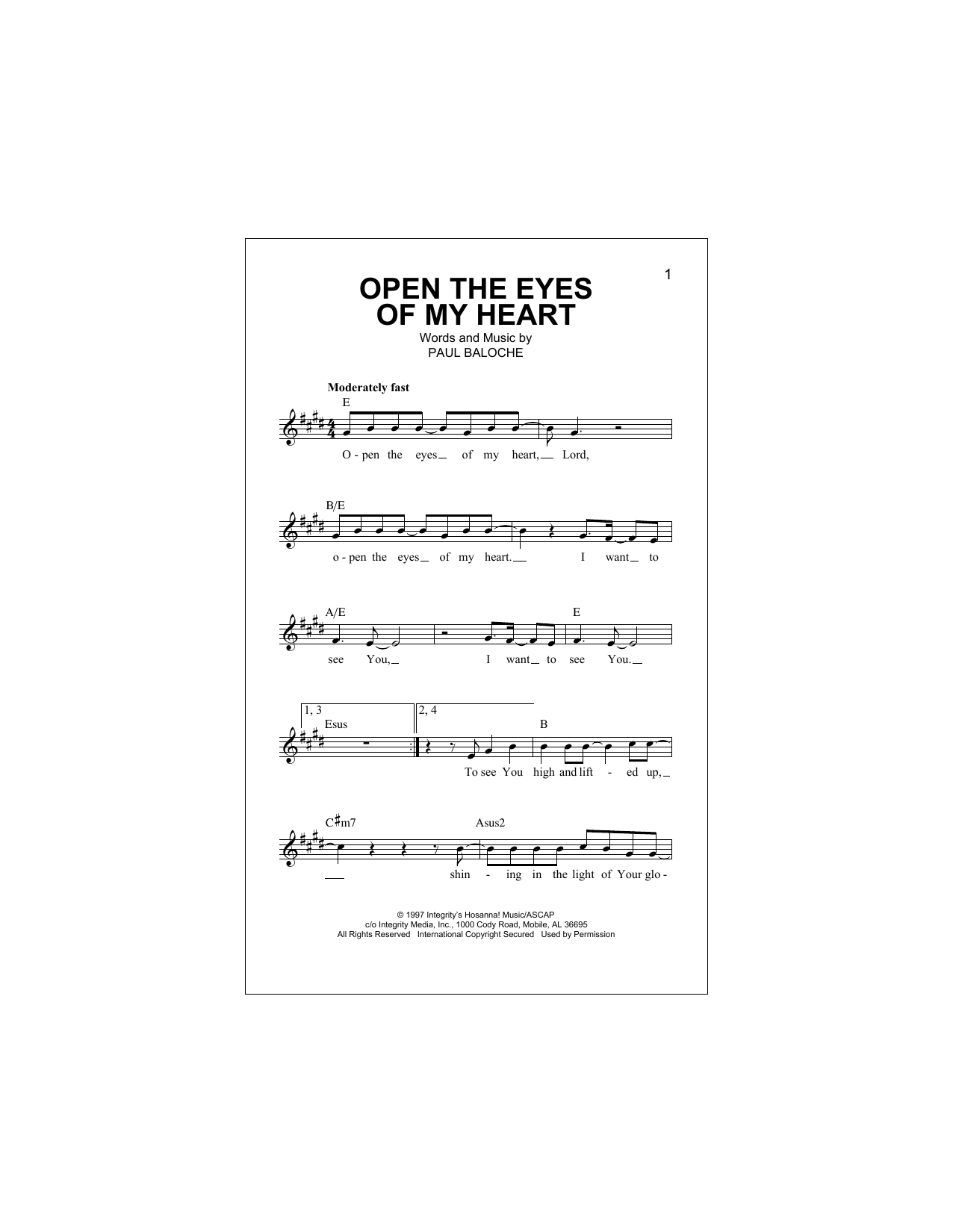 Open The Eyes Of My Heart Sheet Music