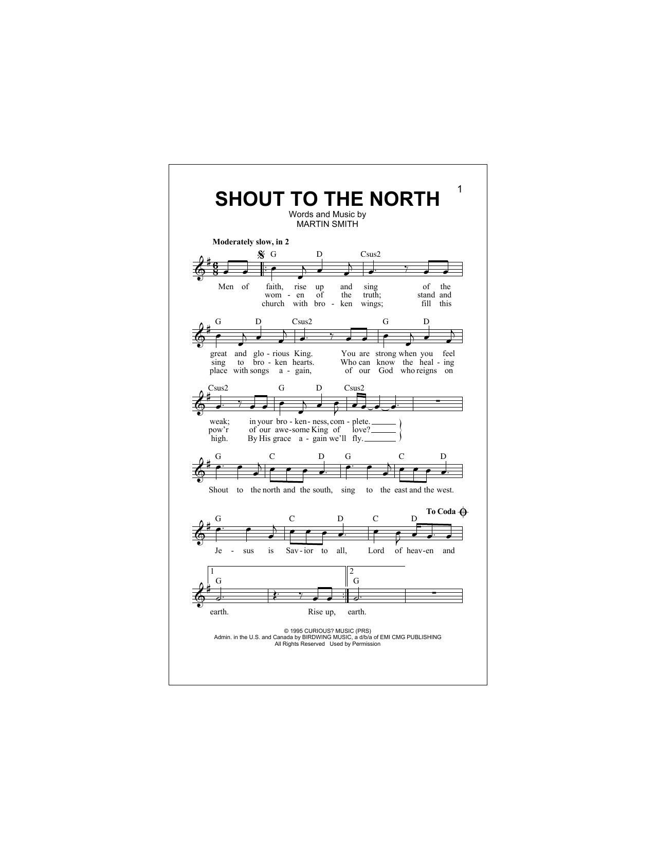 Shout To The North (Lead Sheet / Fake Book)
