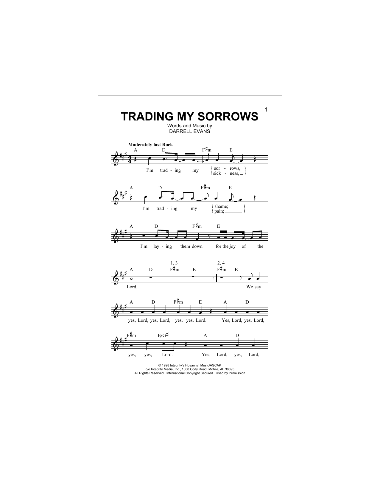 Trading My Sorrows Sheet Music