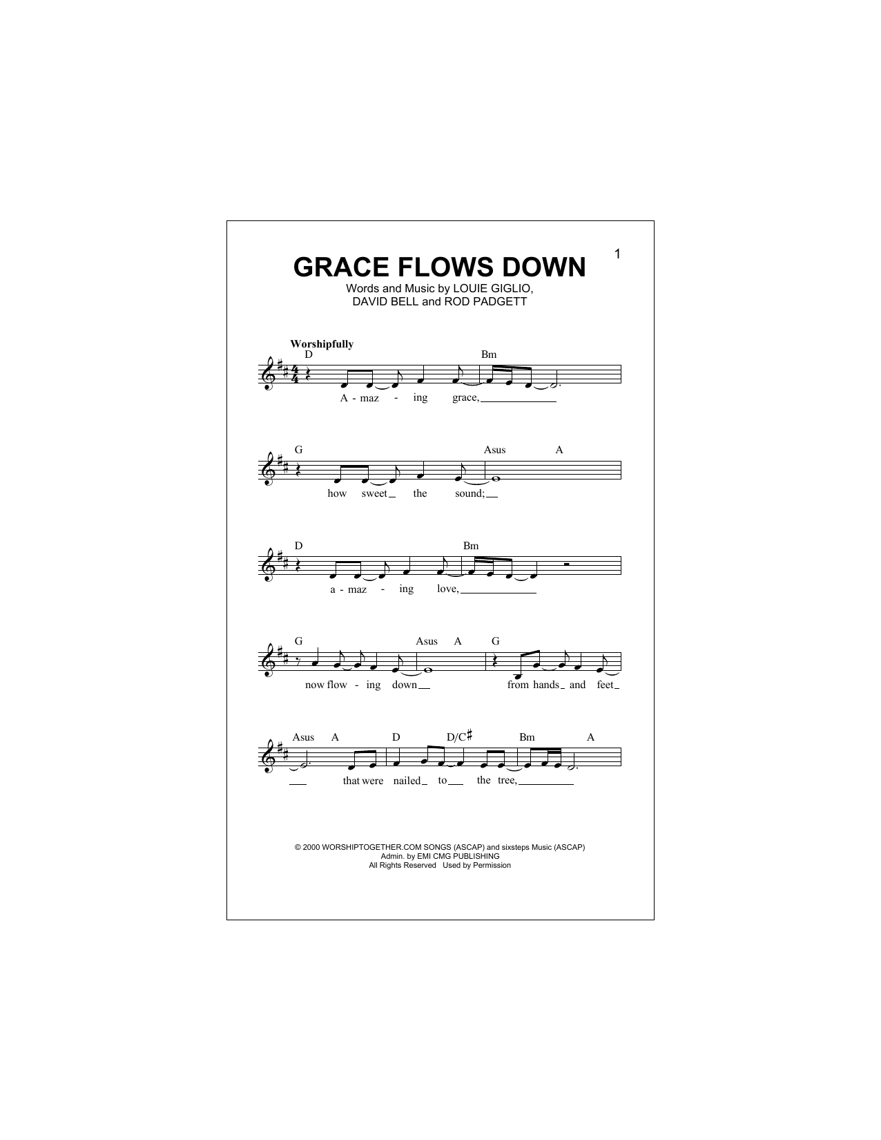 Grace Flows Down Sheet Music