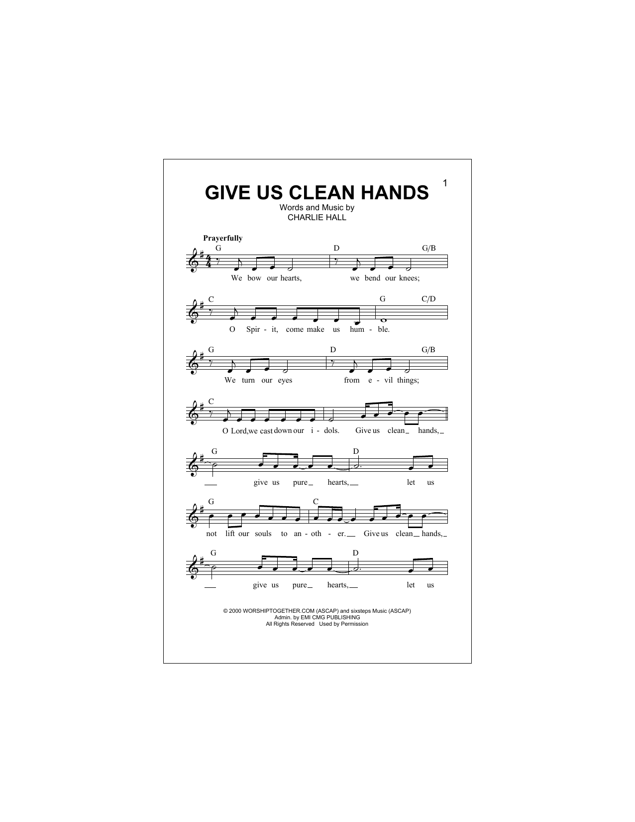 Give Us Clean Hands (Lead Sheet / Fake Book)