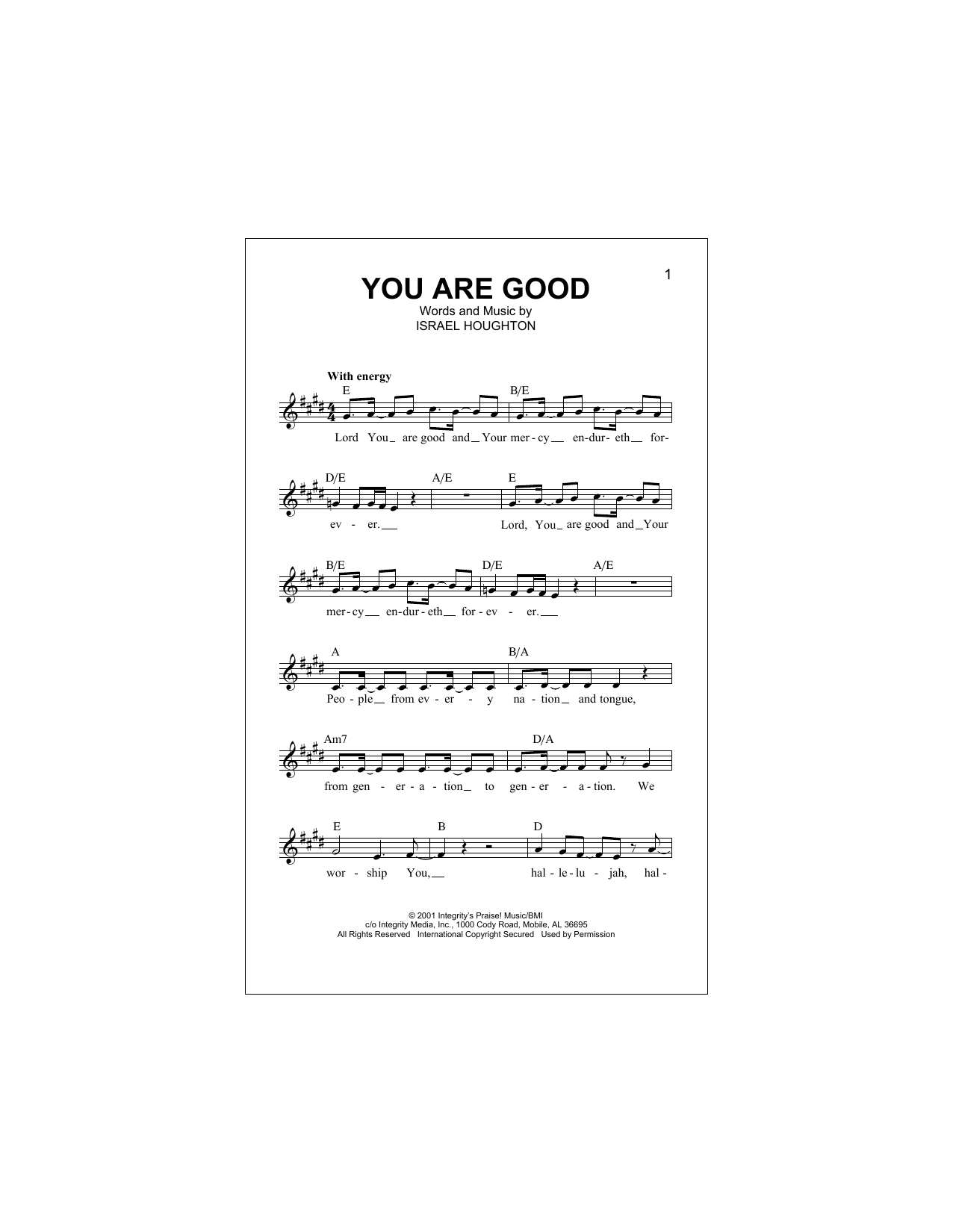 You Are Good (Lead Sheet / Fake Book)
