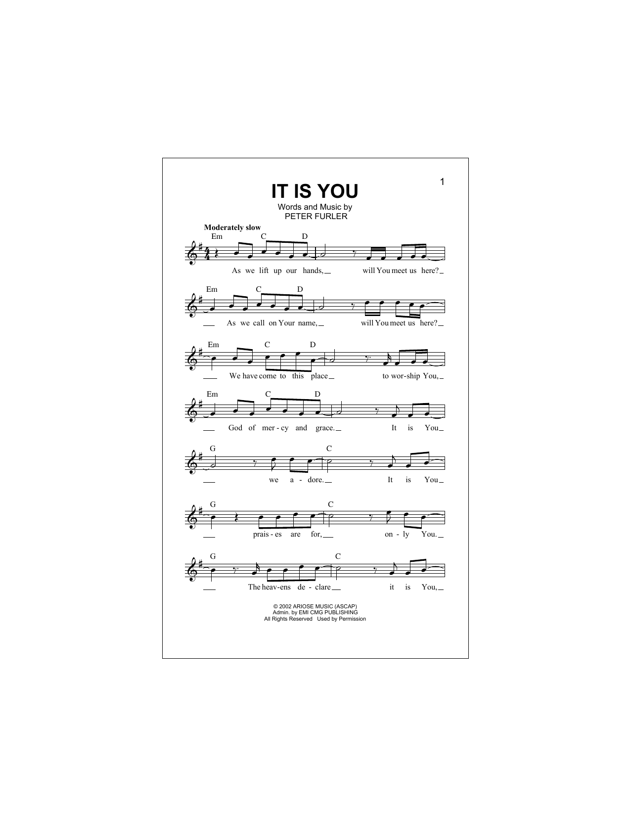 It Is You (Lead Sheet / Fake Book)