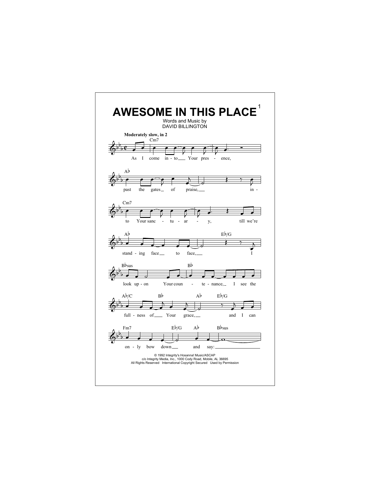 Awesome In This Place Sheet Music
