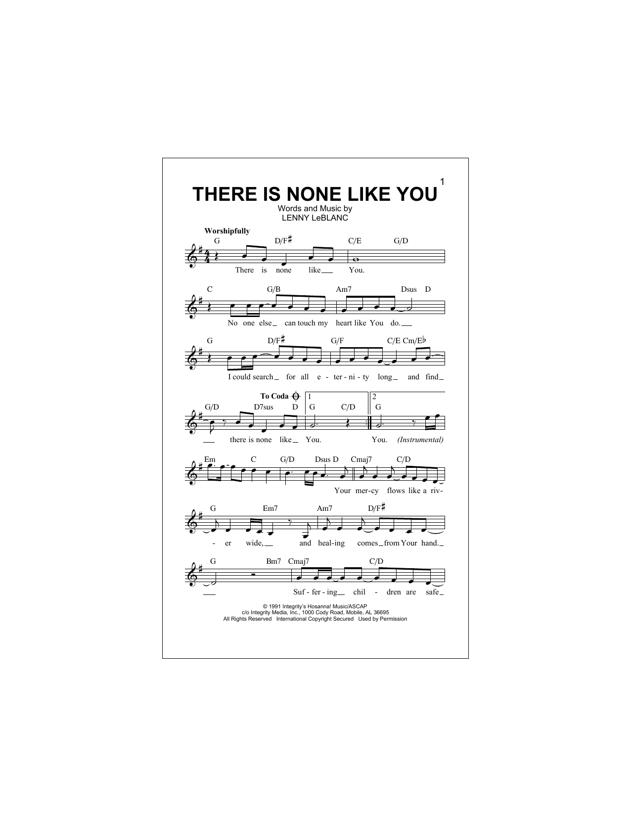 There Is None Like You Sheet Music