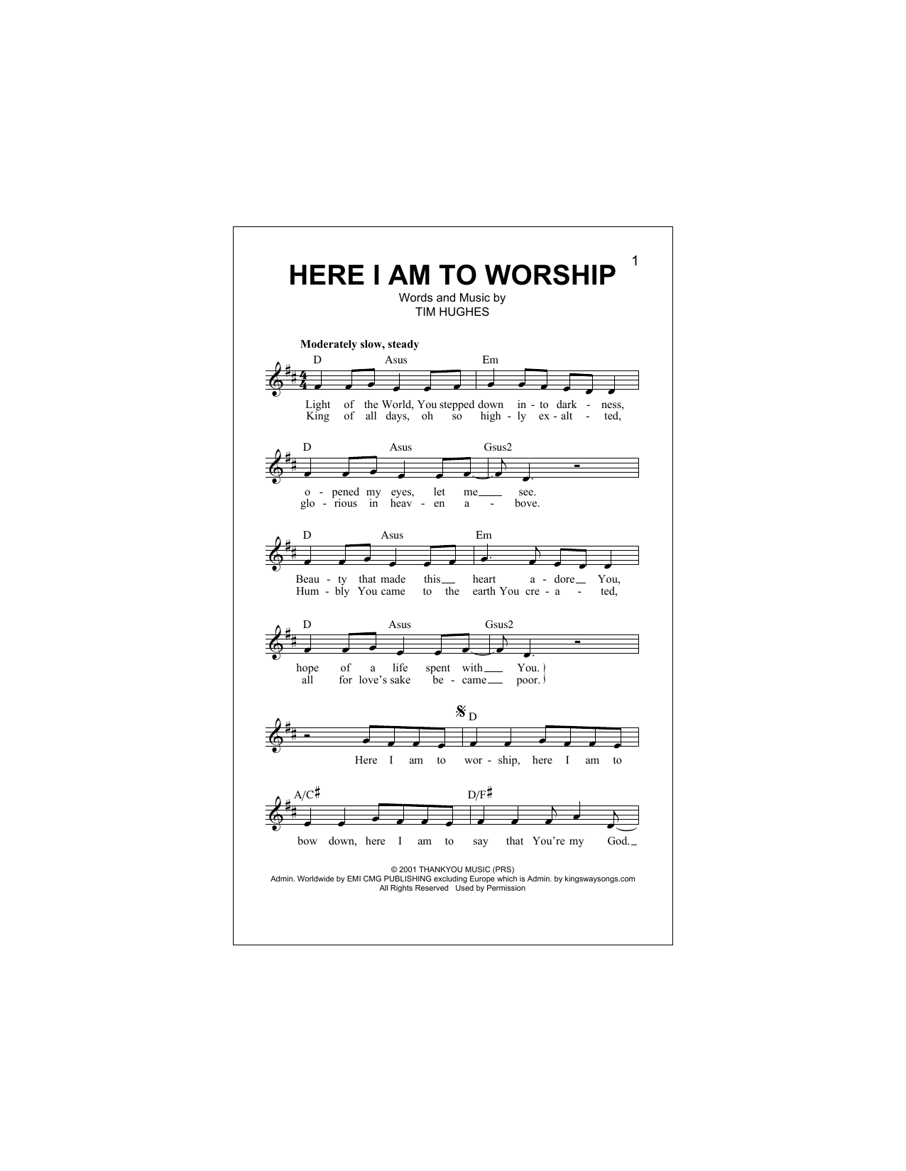 Here I Am To Worship (Light Of The World) (Lead Sheet / Fake Book)