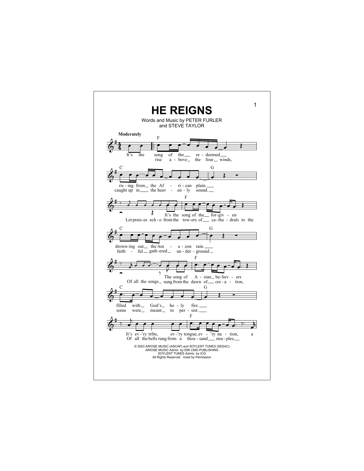 He Reigns (Lead Sheet / Fake Book)