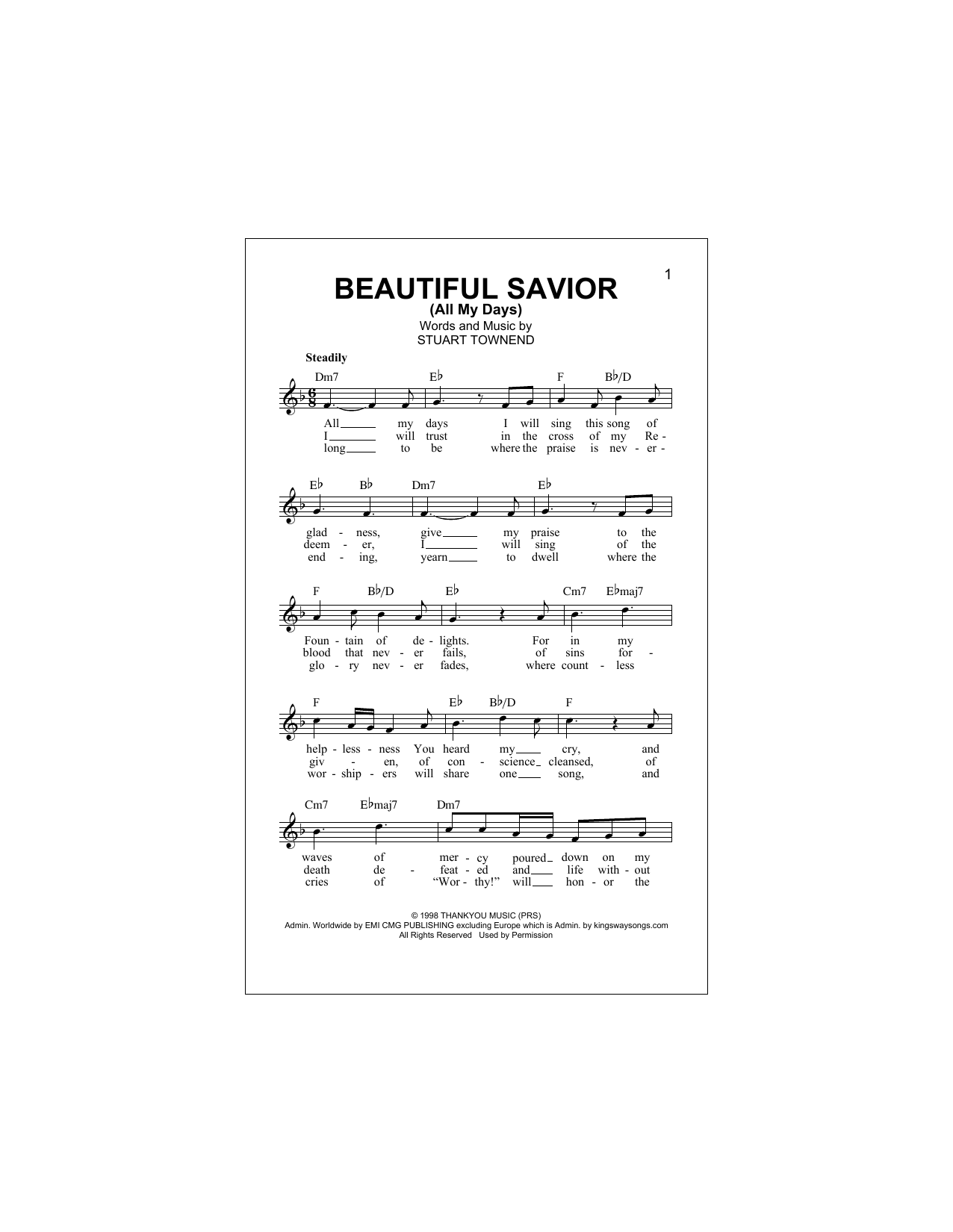 Beautiful Savior (All My Days) Sheet Music