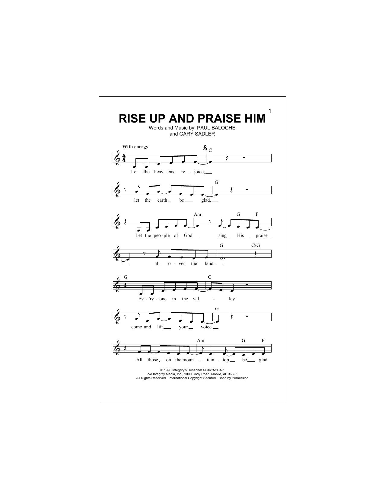 Rise Up And Praise Him Sheet Music