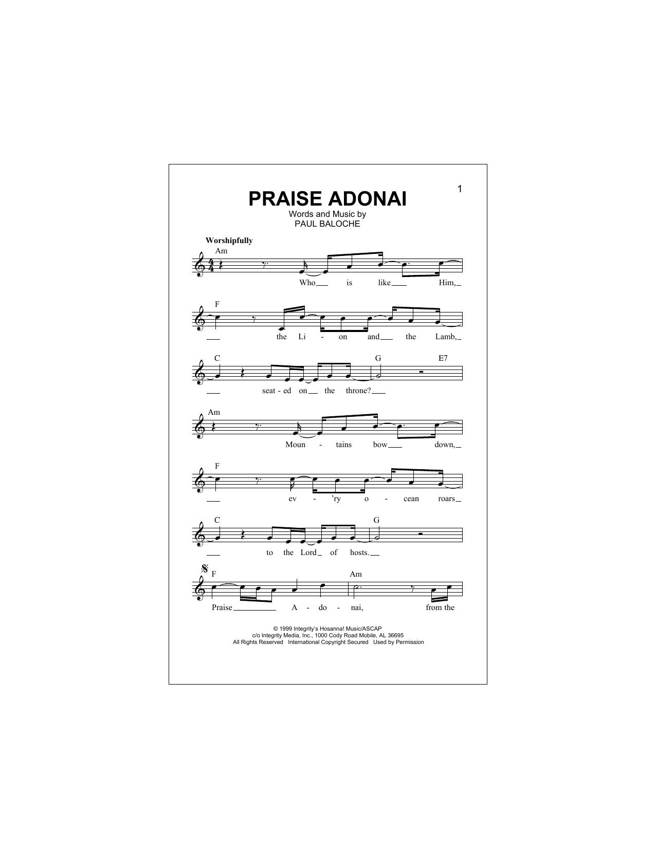 Praise Adonai Sheet Music