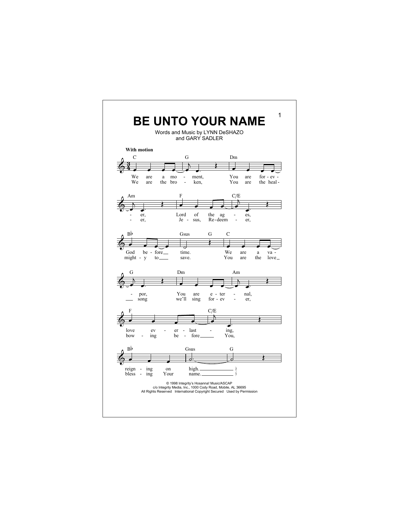 Be Unto Your Name (Lead Sheet / Fake Book)