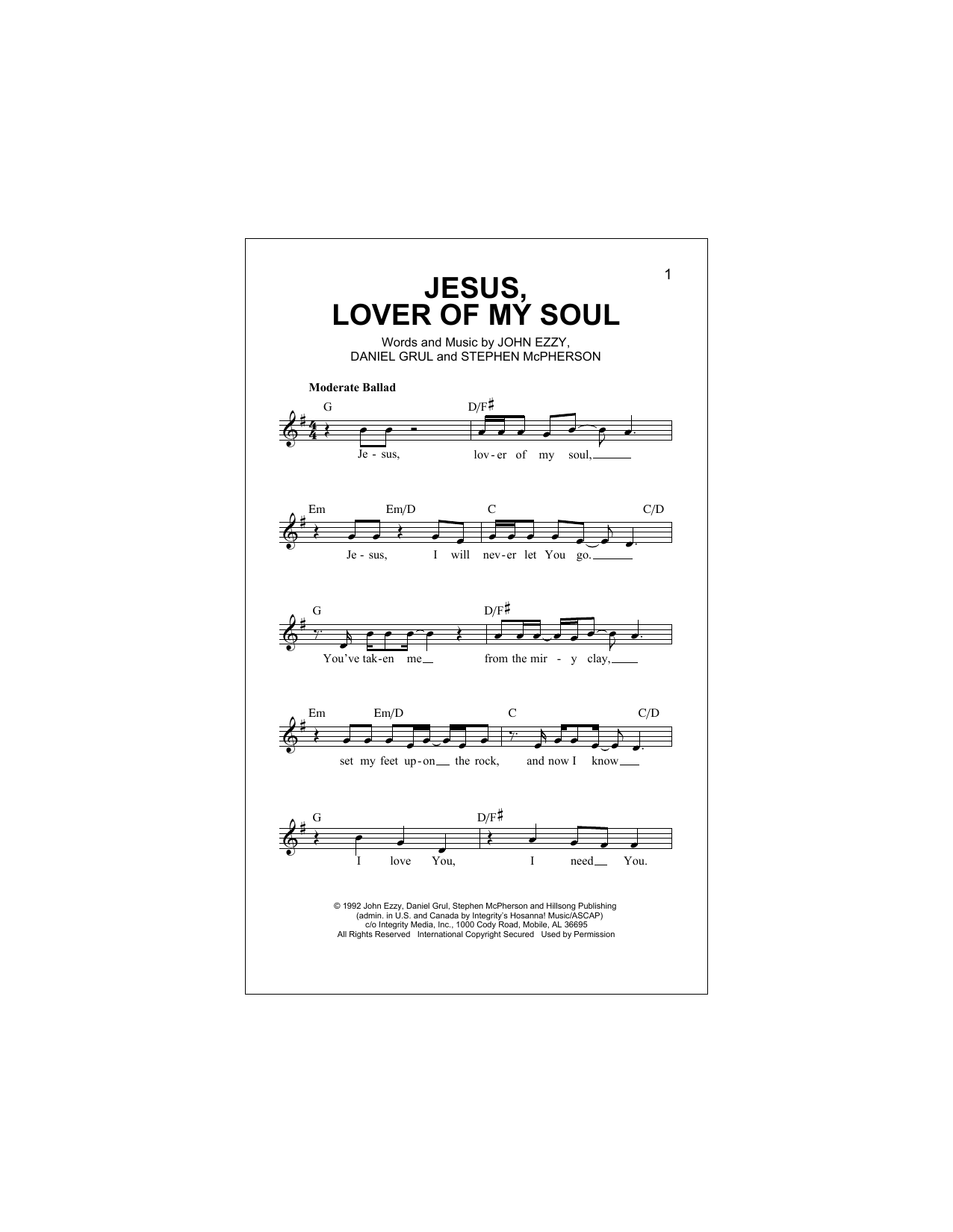 Jesus, Lover Of My Soul (Lead Sheet / Fake Book)
