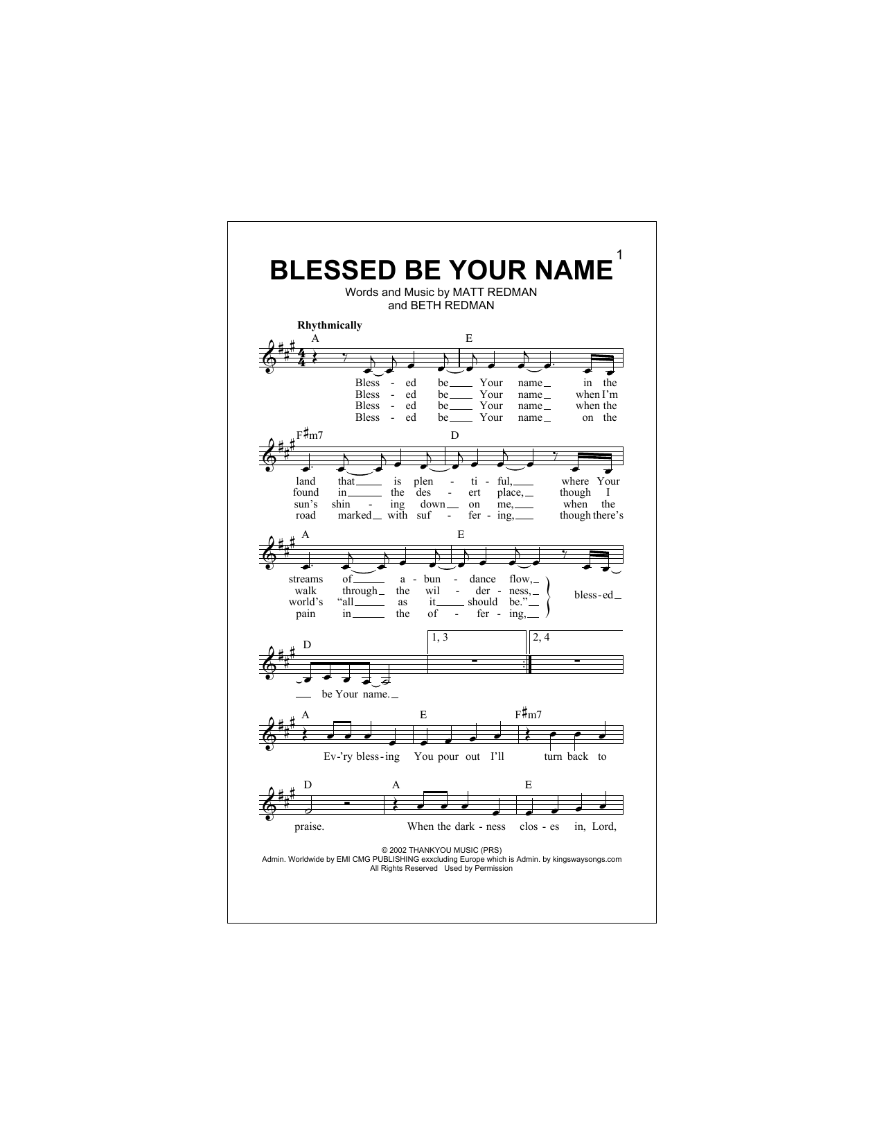 Blessed Be Your Name Sheet Music