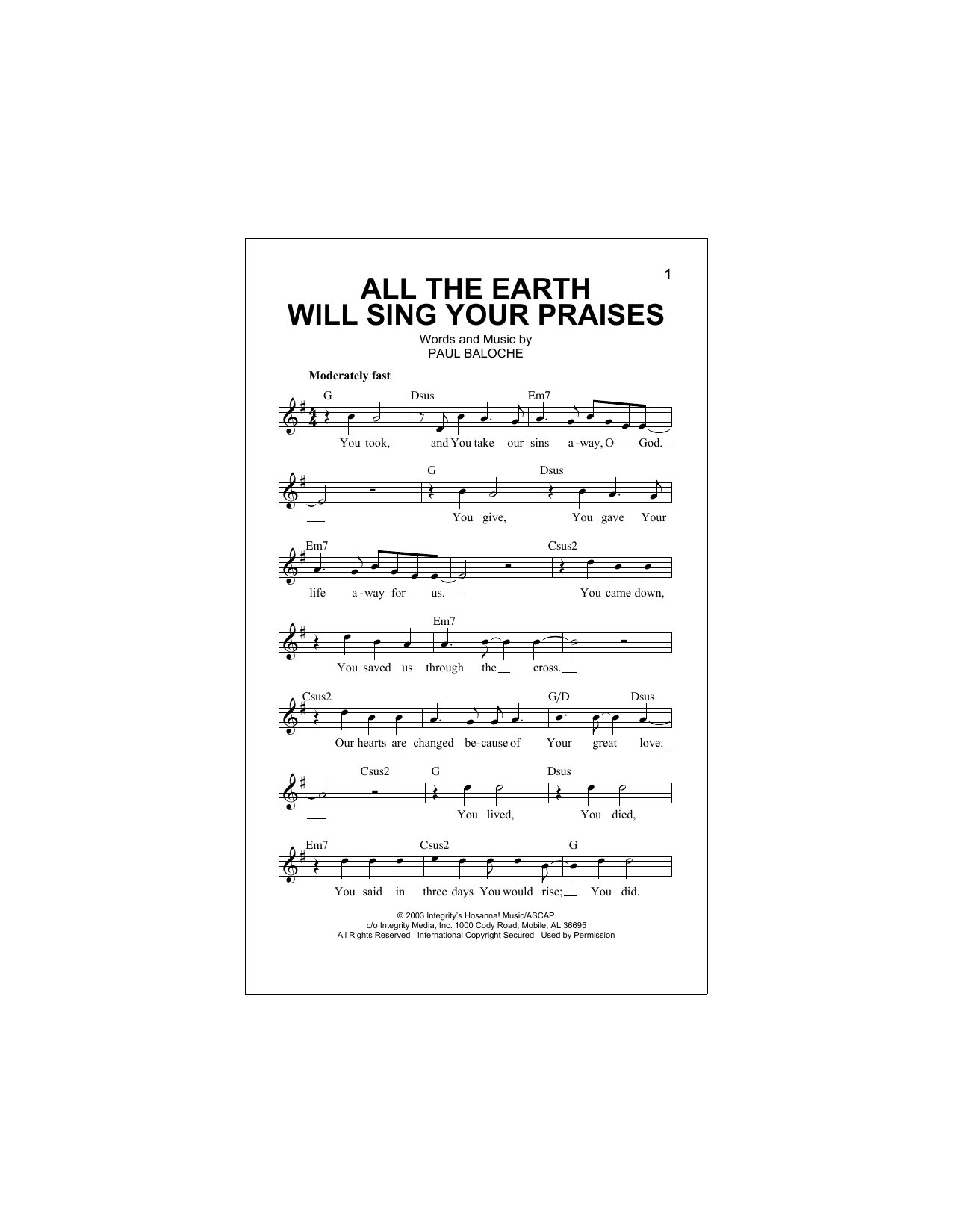 All The Earth Will Sing Your Praises Sheet Music