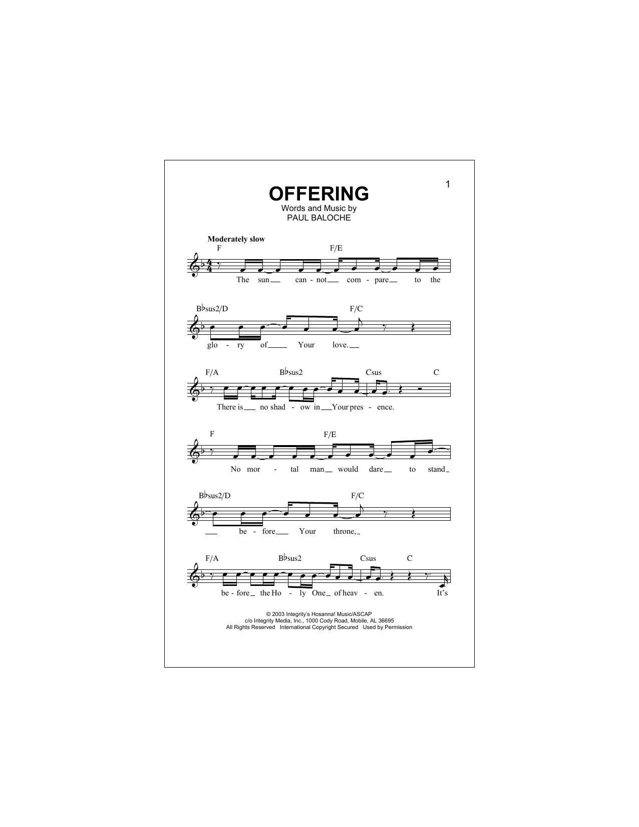 Offering Sheet Music