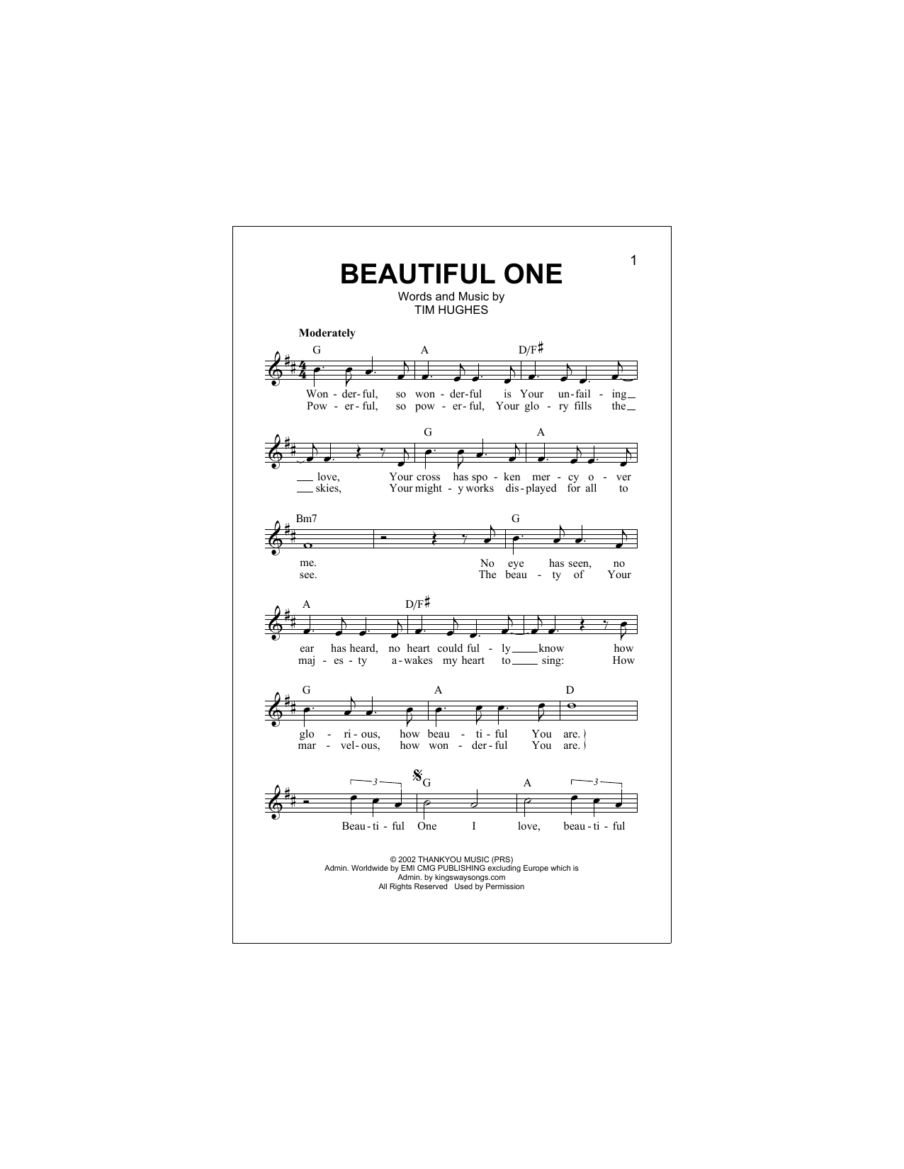Beautiful One (Lead Sheet / Fake Book)