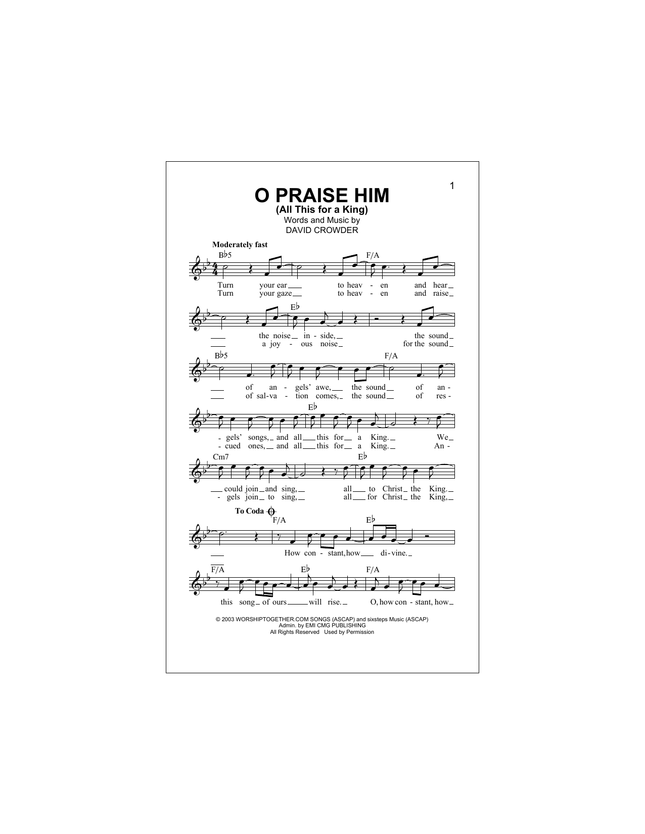 O Praise Him (All This For A King) Sheet Music