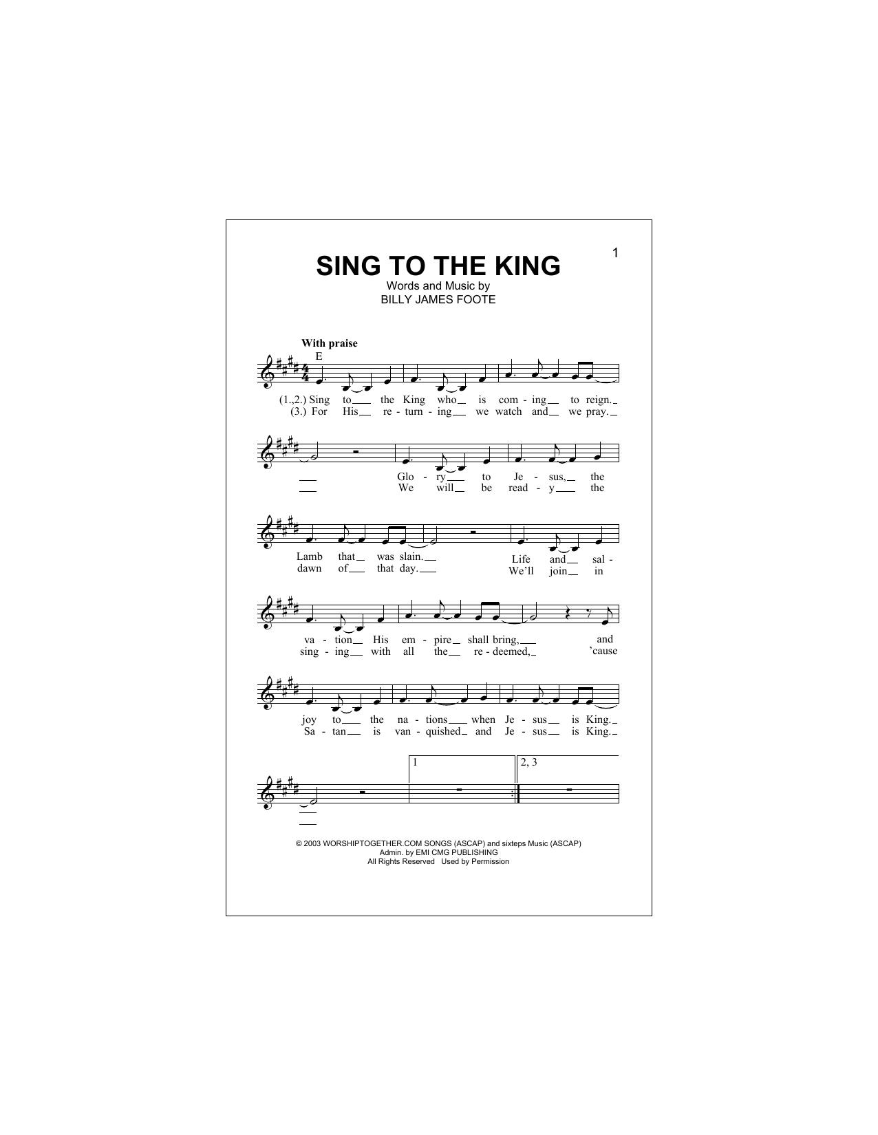 Sing To The King Sheet Music