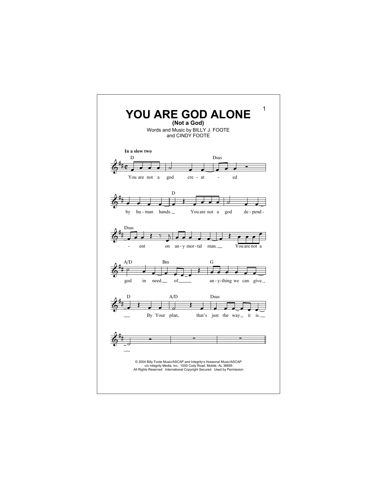 You Are God Alone (Not A God) Sheet Music
