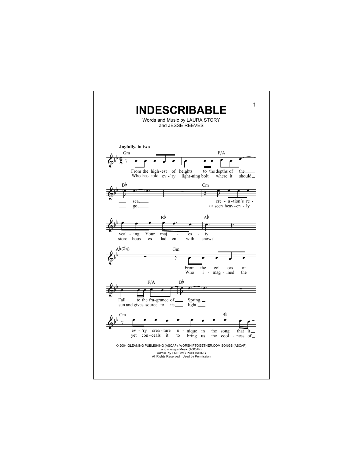 Indescribable Sheet Music