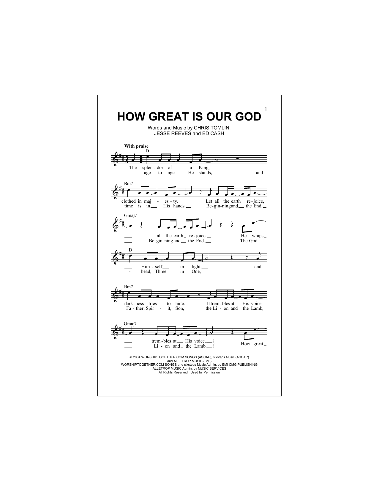 How Great Is Our God (Lead Sheet / Fake Book)