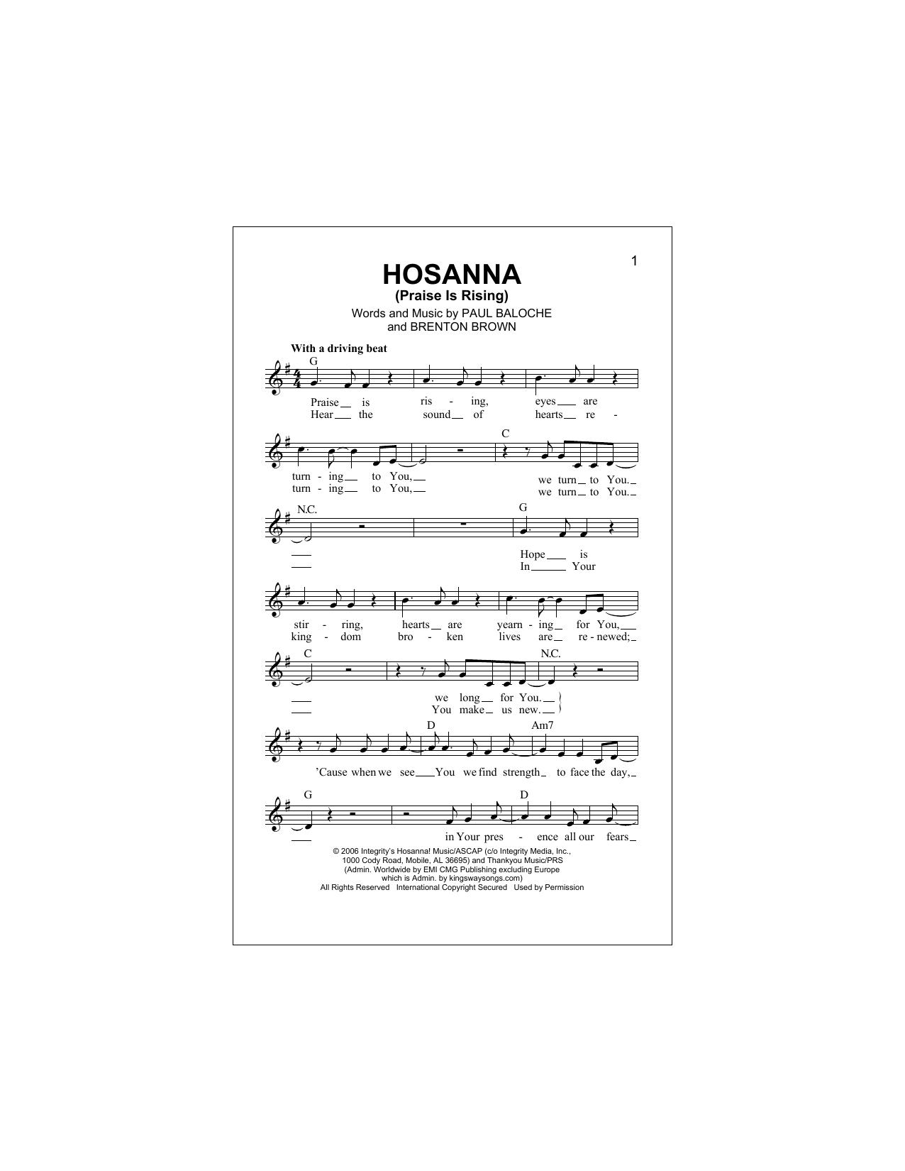 Hosanna (Praise Is Rising) Sheet Music