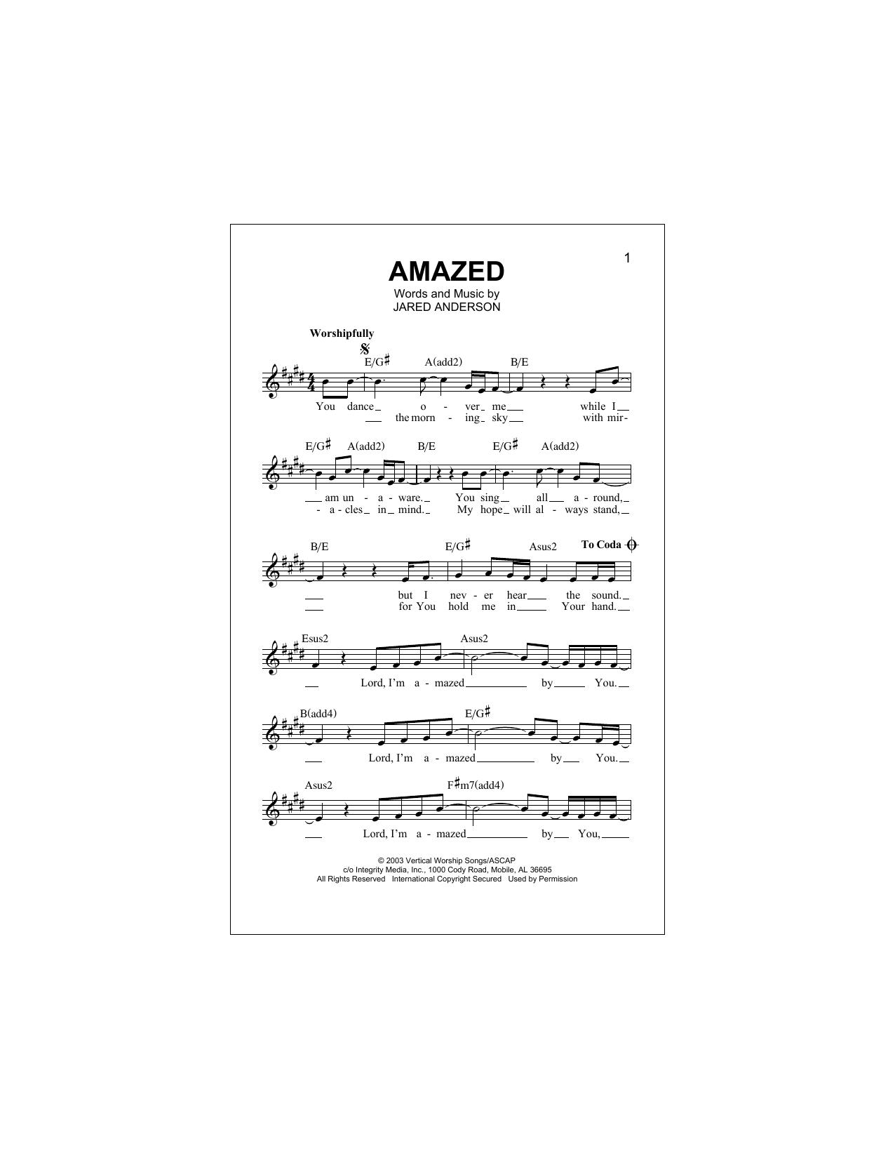 Amazed (Lead Sheet / Fake Book)