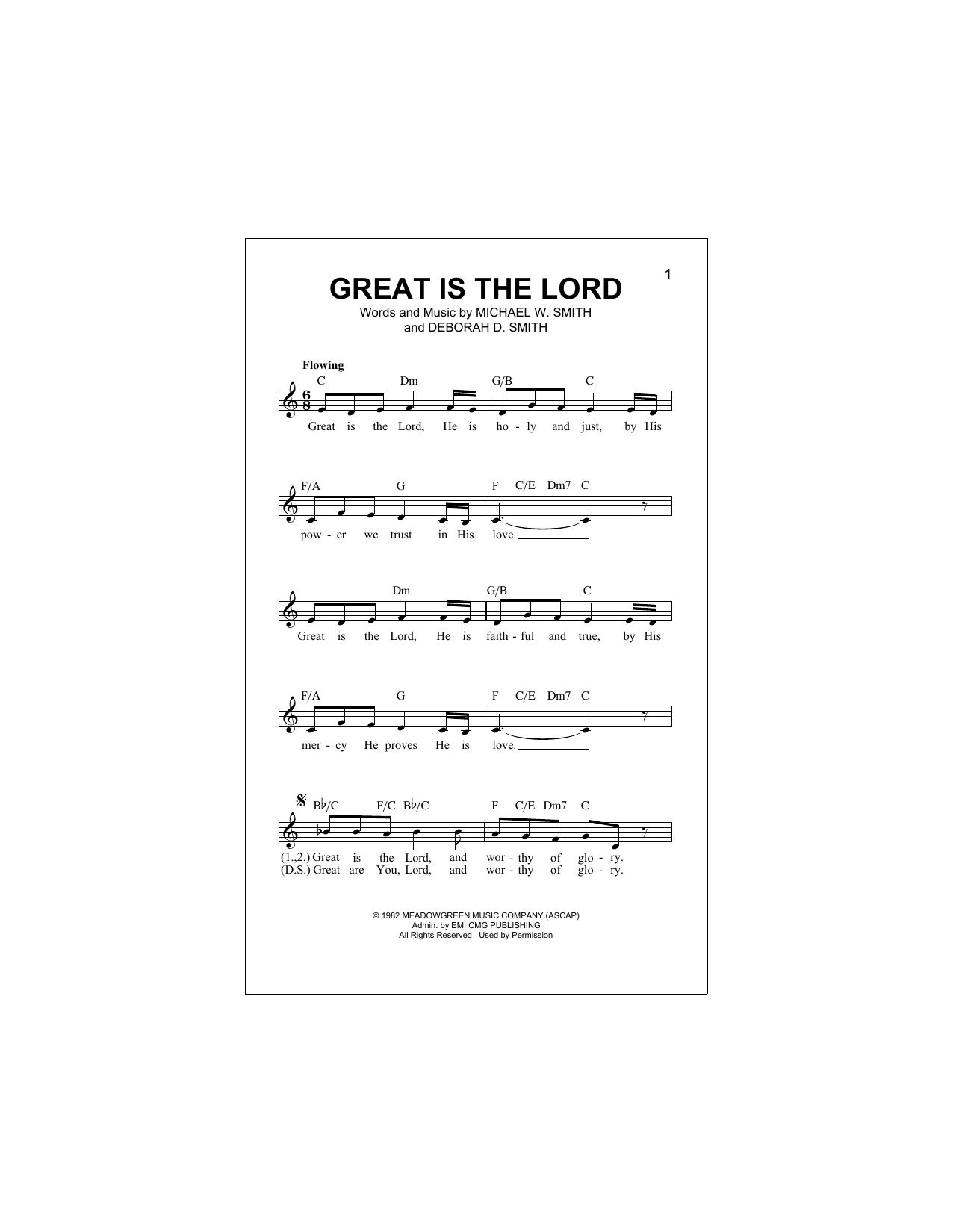 Great Is The Lord Sheet Music