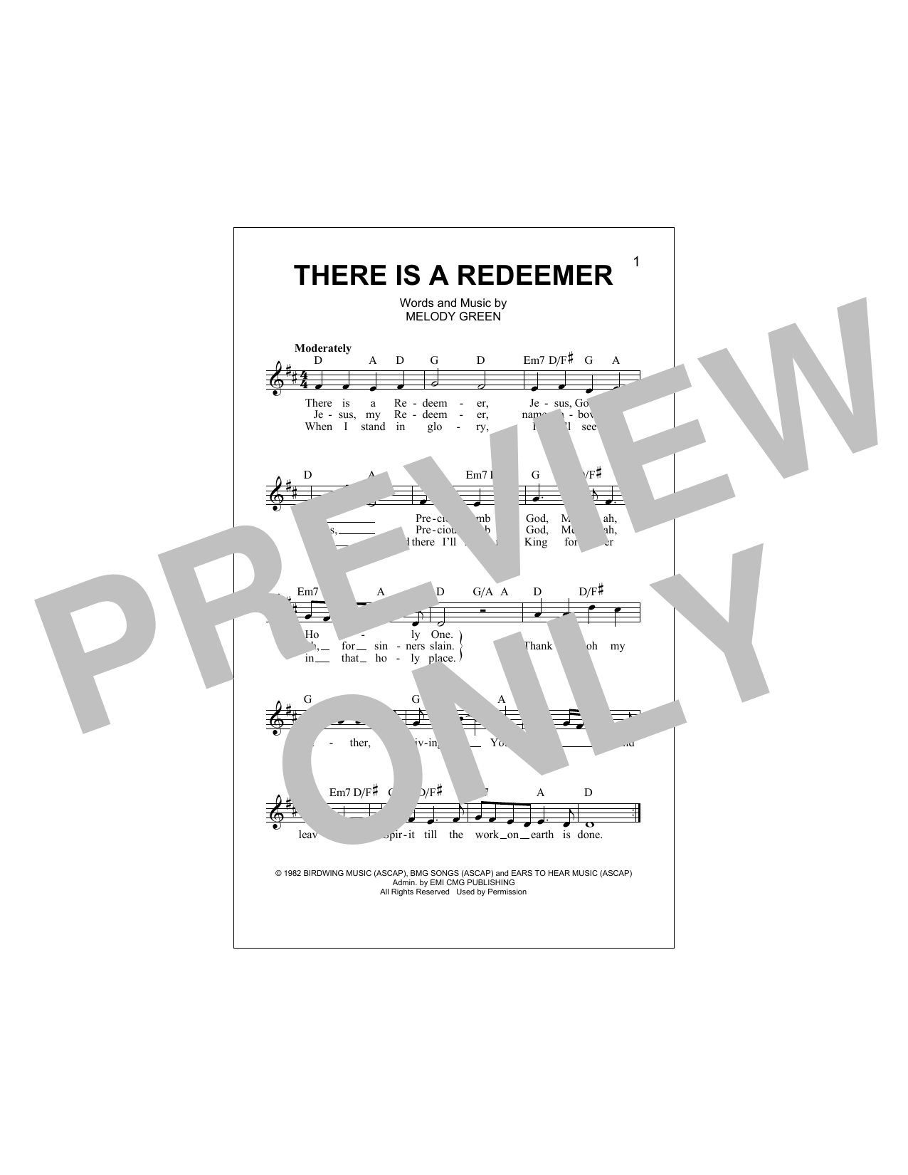 There Is A Redeemer Sheet Music