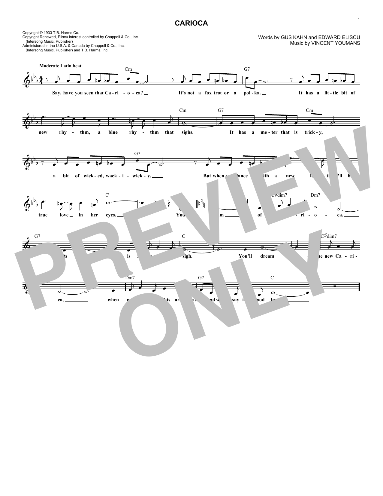 The Carioca (Lead Sheet / Fake Book)