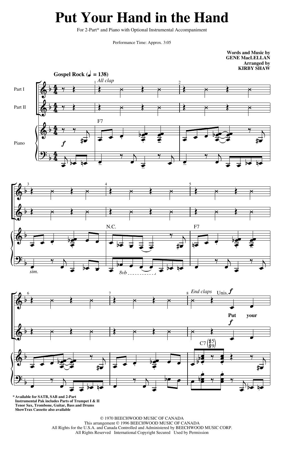 Put Your Hand In The Hand (arr. Kirby Shaw) (2-Part Choir)