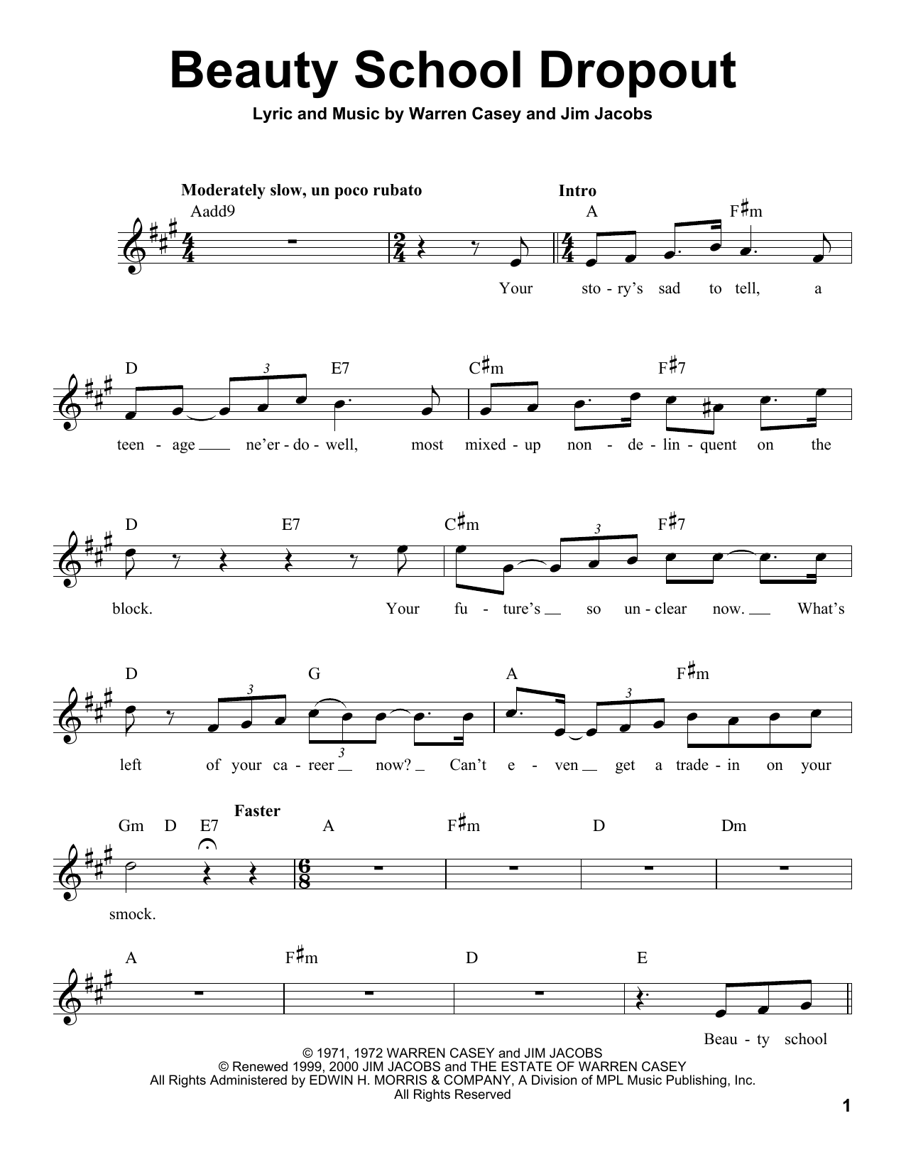 Beauty School Dropout Sheet Music