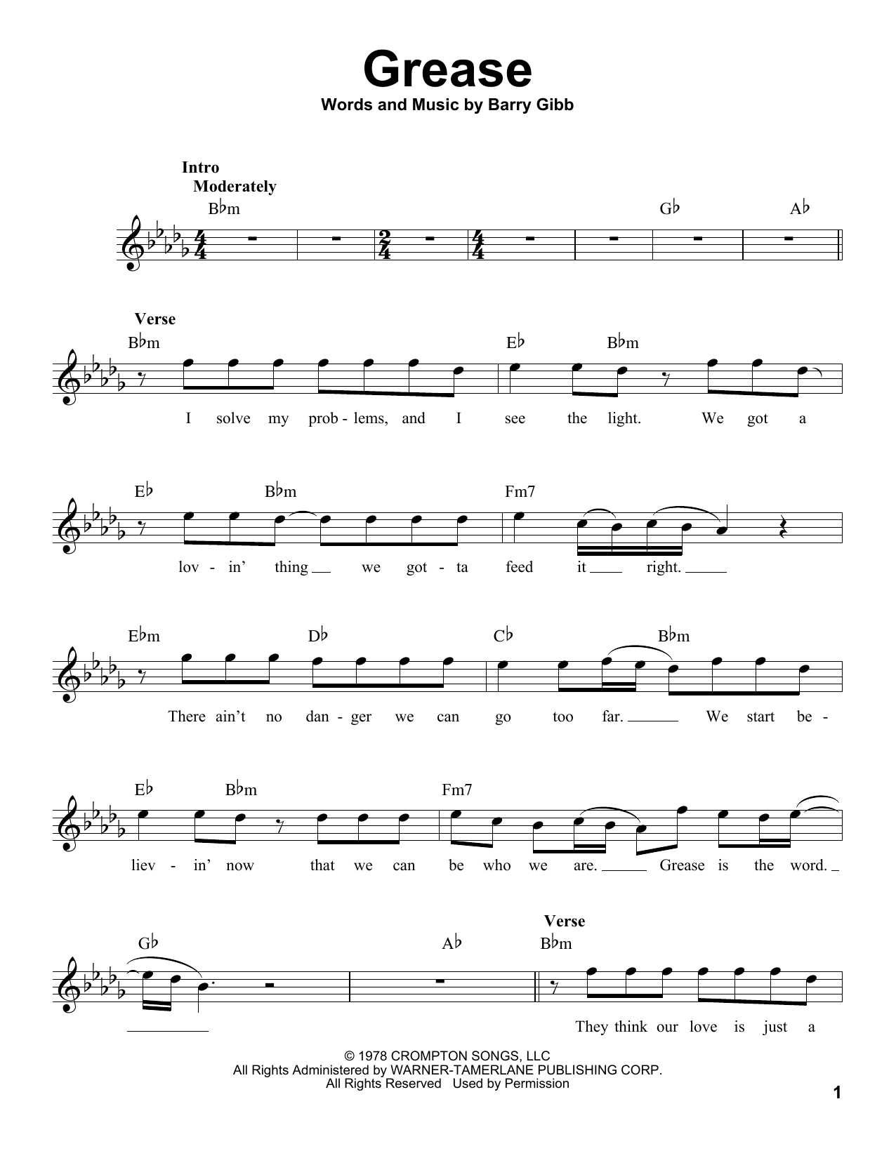 Grease Sheet Music