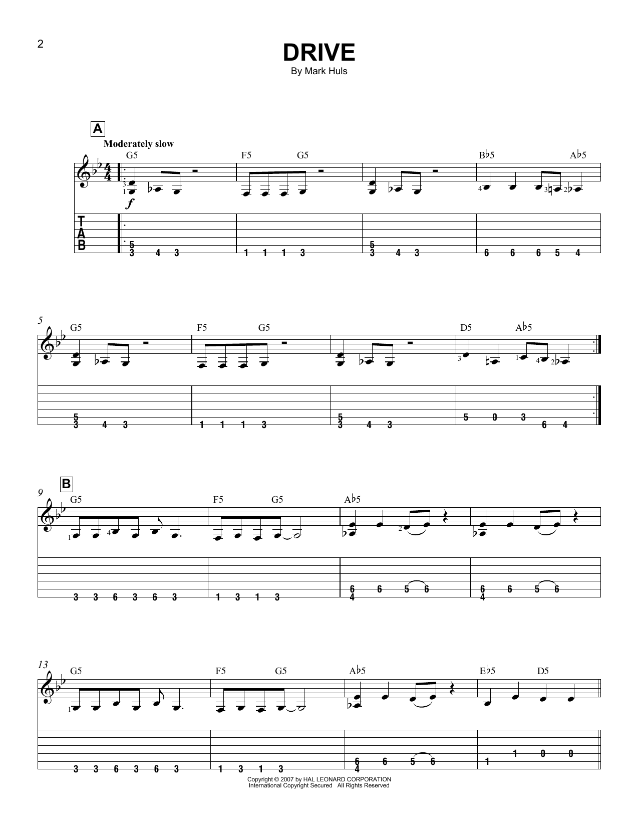 Drive (Easy Guitar Tab)