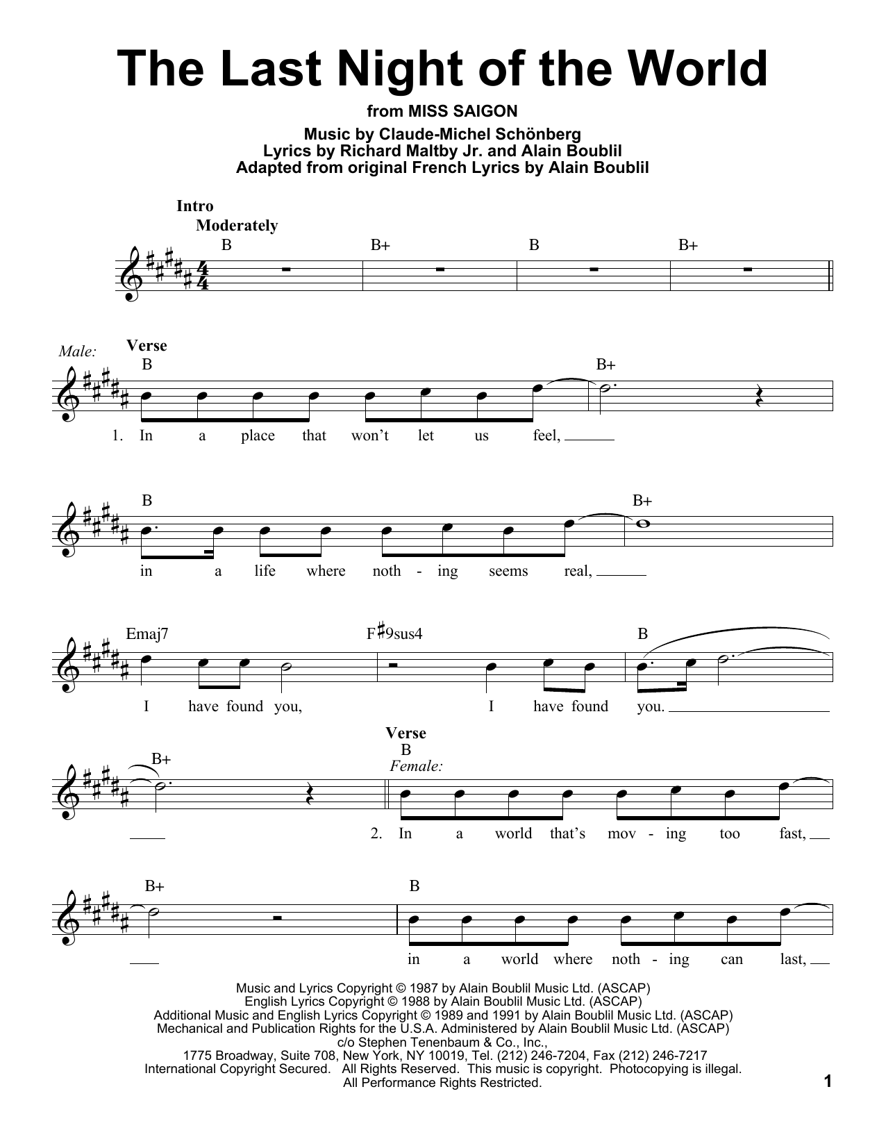The Last Night Of The World Sheet Music