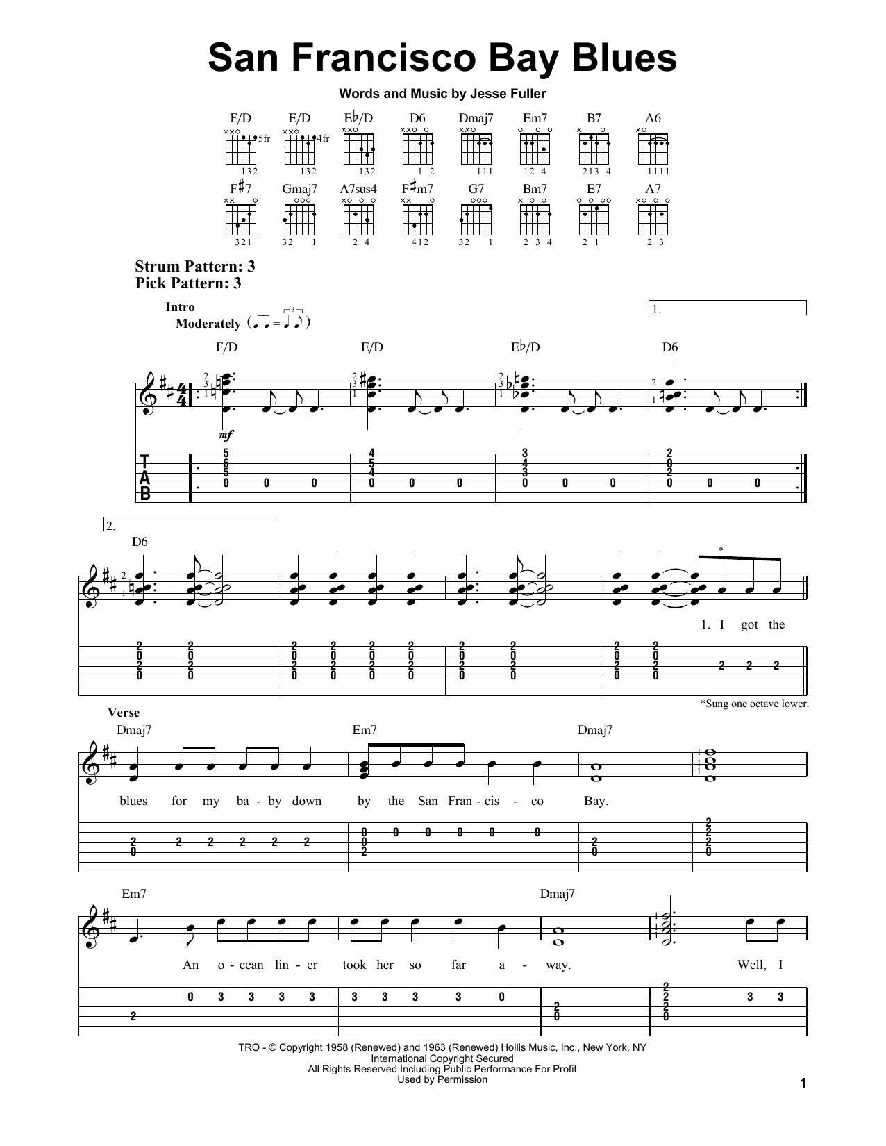 San Francisco Bay Blues (Easy Guitar Tab)