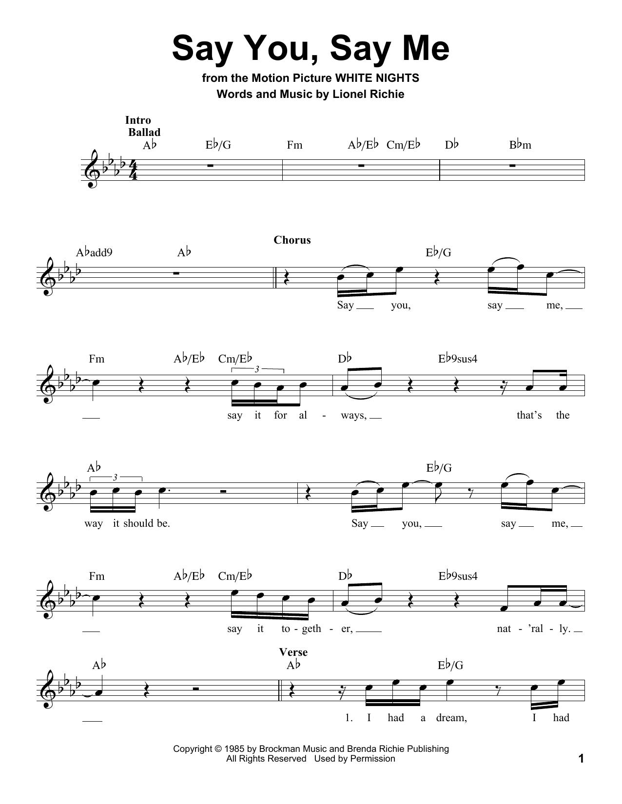 Say You, Say Me Sheet Music