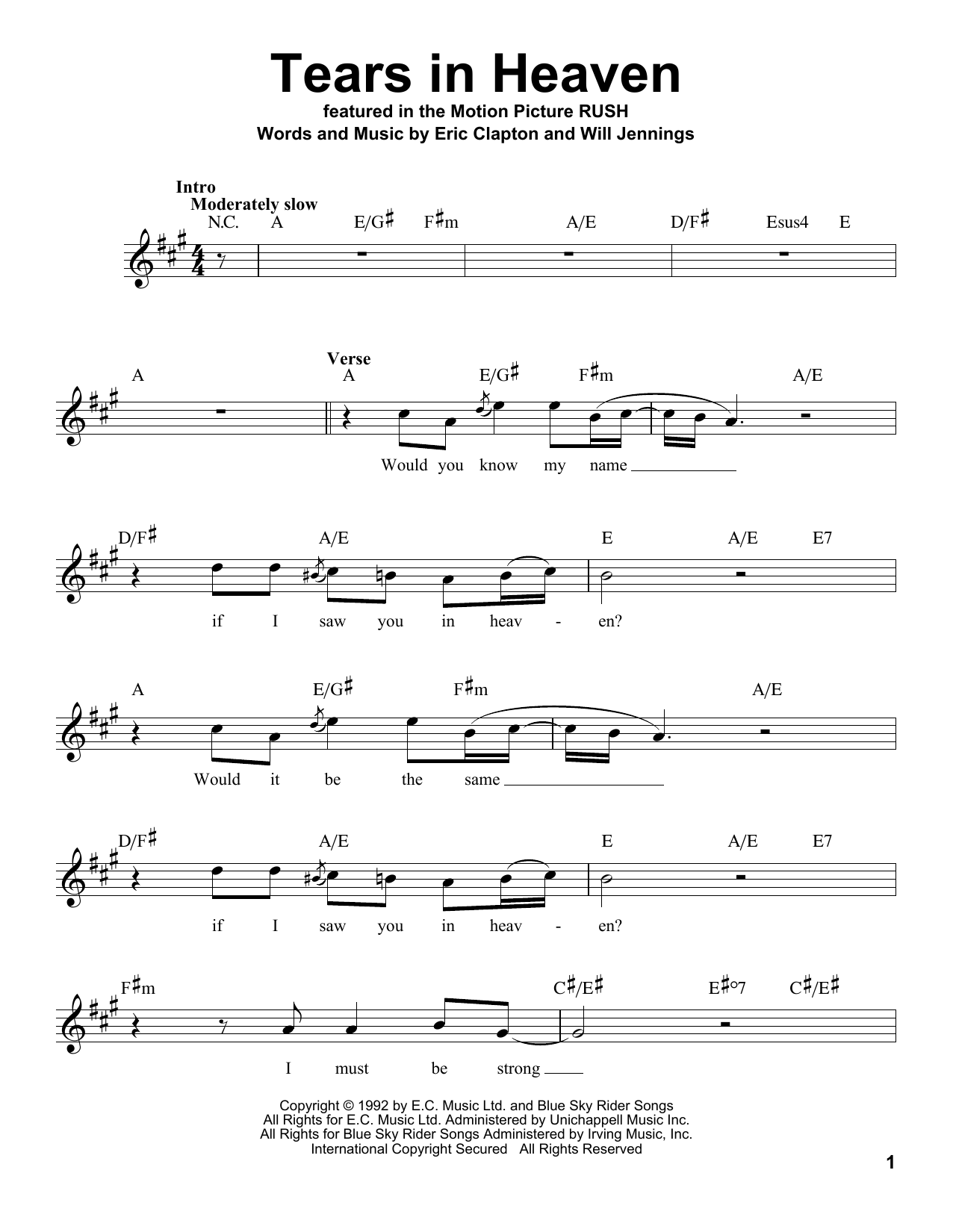 Eric Clapton Tears In Heaven Piano Sing Pop Vocal Choral Voice SHEET Music