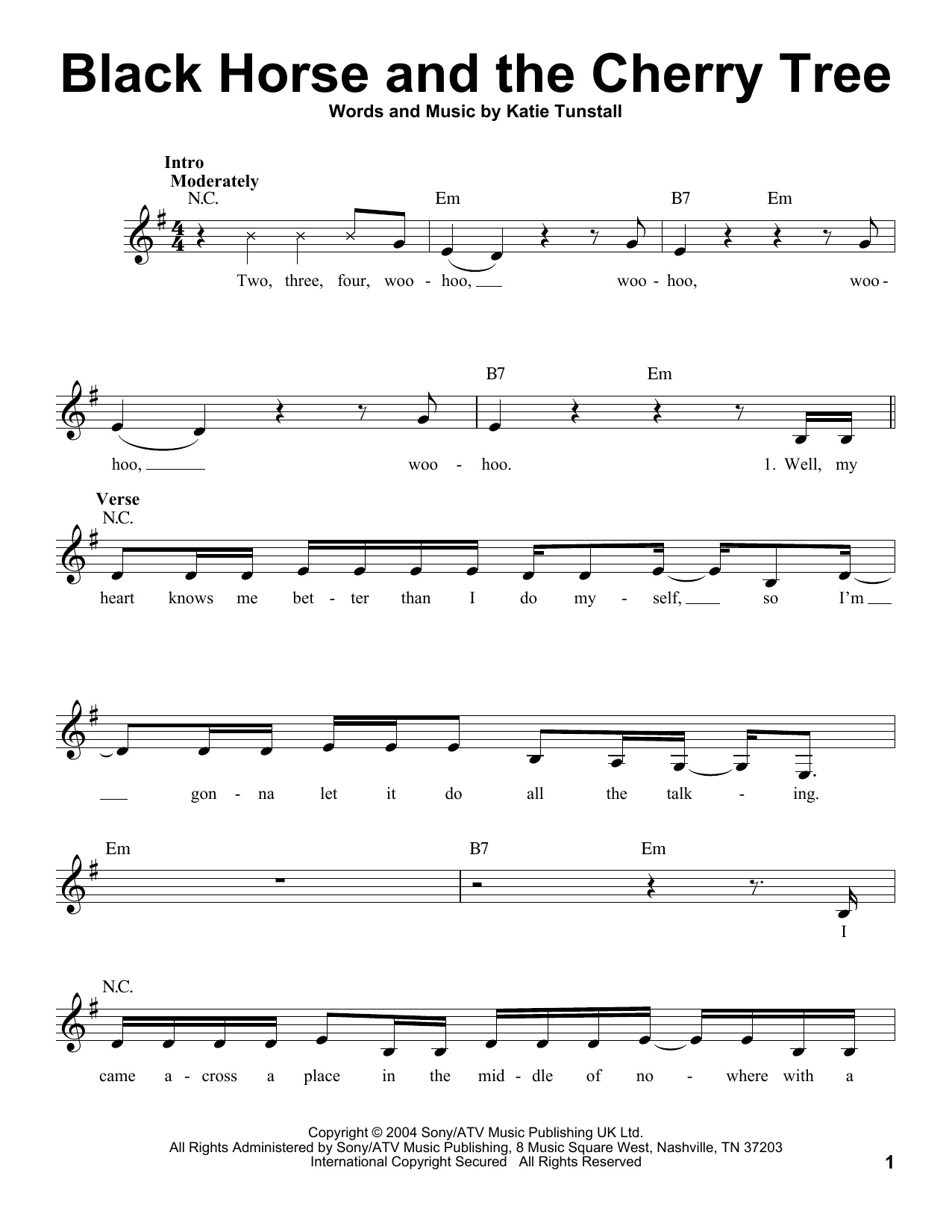 Black Horse And The Cherry Tree Sheet Music