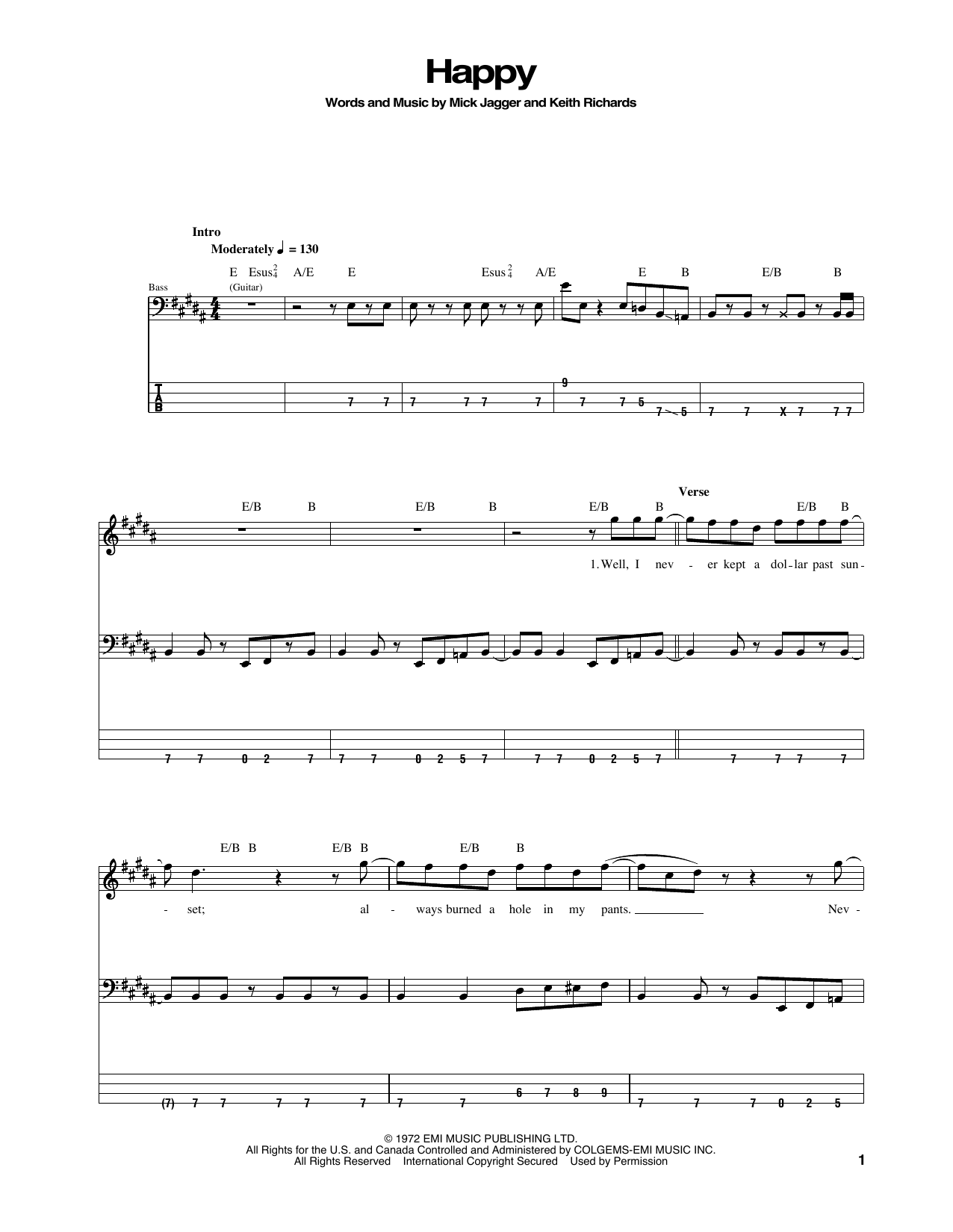 Happy (Bass Guitar Tab)