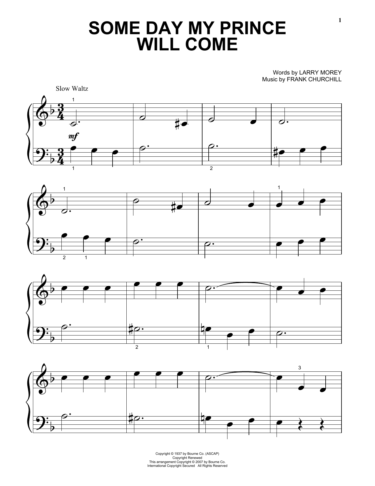 Some Day My Prince Will Come Sheet Music
