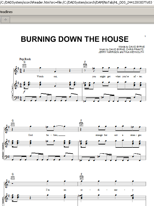 Burning Down The House (Piano, Vocal & Guitar (Right-Hand Melody))