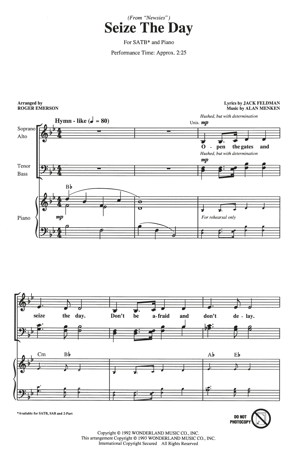 Seize The Day (from Newsies) (arr. Roger Emerson) Sheet Music
