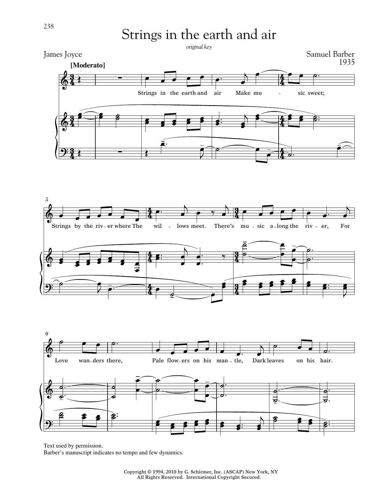Strings In The Earth And Air Sheet Music