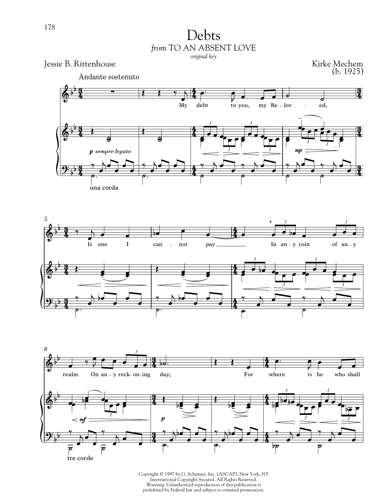 Debts Sheet Music