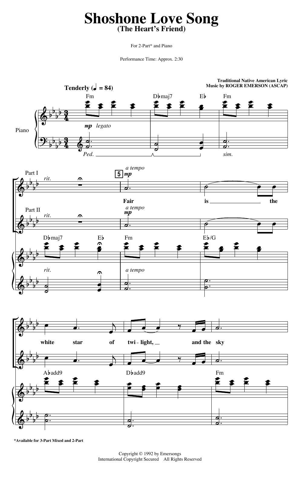 Shoshone Love Song (The Heart's Friend) (2-Part Choir)