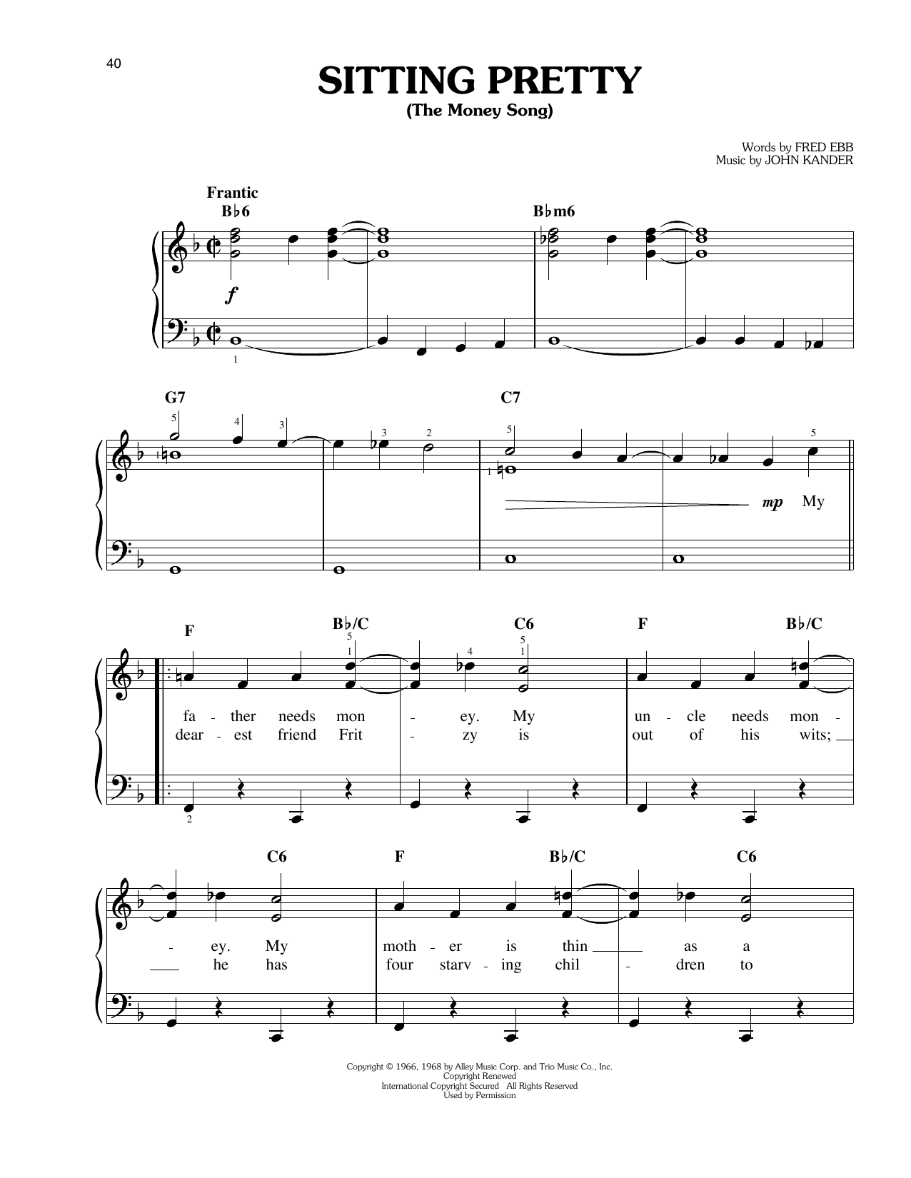 Sitting Pretty (The Money Song) Sheet Music