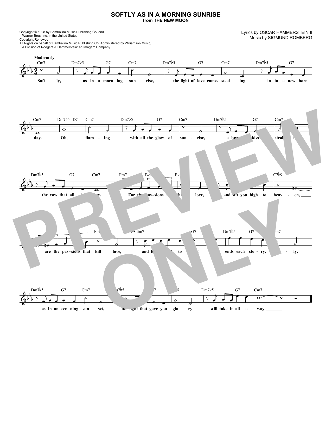 Softly As In A Morning Sunrise (Lead Sheet / Fake Book)